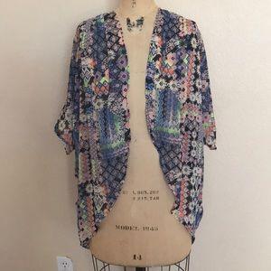 No Boundaries Cocoon Style Boho Chiffon Kimono S